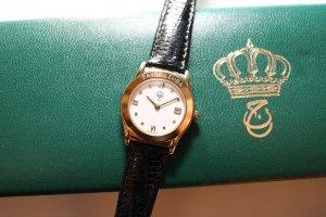 Reloj con pulsera de cuero negro-color oro Cuero