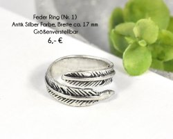 Feder Ring Größenverstellbar, Anik silber