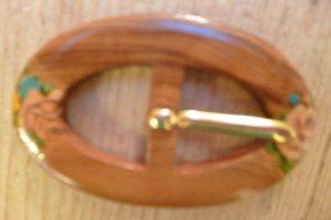 Hebilla del cinturón multicolor madera