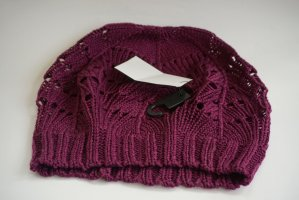 H&M Knitted Hat blackberry-red cotton