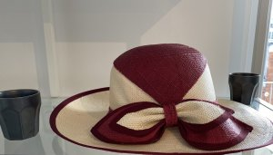 Chapeau panama bordeau-blanc cassé