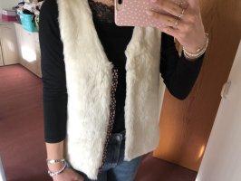 H&M Smanicato di pelliccia bianco-rosa