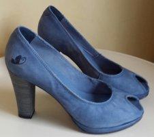 """""""Felmini"""" Leder-peep-toes, jeansblau, Größe 38"""