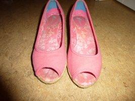 Feminin - Pumps Keilabsatz Wedges Peeptoes - rosa pink coralle - Gr. 39