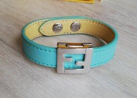 Fendi Bracelet en cuir crème-bleu clair