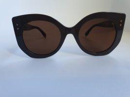 Fendi Occhiale da sole spigoloso color oro rosa-marrone-grigio