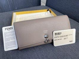 Fendi Wallet Continental Geldbörse beige/graubraun Silber