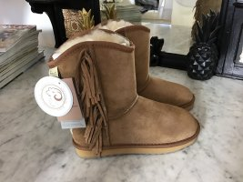 Festamo Snow Boots light brown-gold-colored leather