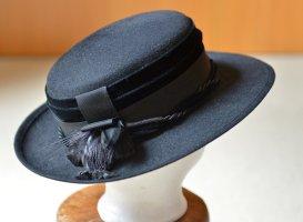festlicher Hut 60er Jahre Damenhut schwarz Derby Ascot Hochzeit Tracht Elegant Vintage