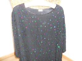 Top extra-large noir fibre textile