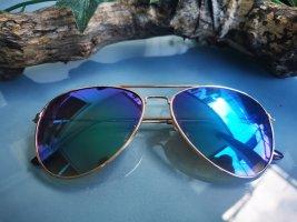 *Festpreis* Sonnenbrille, Blau, Lila, Gold, Mehrfarbig