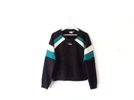 Fila Sweater Gr. L 40 38 Sweatshirt schwarz grün weiß retro