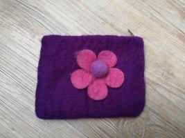 Filz Portemonnaie Geldbörse Etui lila pink Blume