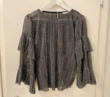 Find Shirt Bluse Top 36 S silber schwarz glitzer Party Trompetenärmel