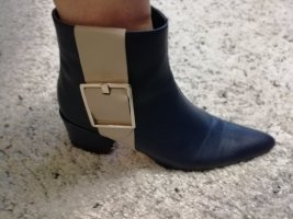 FIND Stiefeletten Damen mit Lederschnalle und Reißverschluss.Farbe-petrol