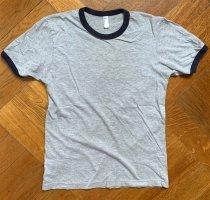 Fine Jersey Unisex American Apparel Ringer T-Shirt Gr. S (M) 36/38 in grau/marineblau
