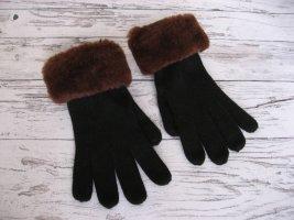 Guantes con dedos negro-marrón