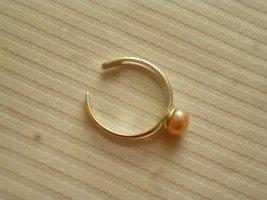 Srebrny pierścionek jasnobeżowy