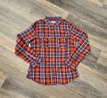 Flanellhemd kariert Hemdjacke Überhemd orange blau H&M M