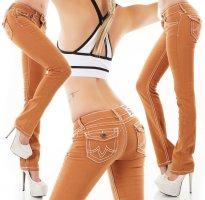Flap Pocket Jeans/Bootcut - Caramel/Braun - Größe S 34/36