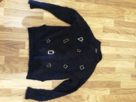 Crochet Sweater gold-colored-dark blue