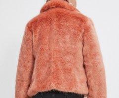 Flauschiger Fake Fur Jacke, Orange