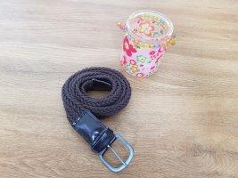 Cinturón trenzado color plata-marrón oscuro
