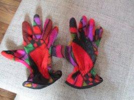 Rękawiczki polarowe ciemnoczerwony-trawiasty