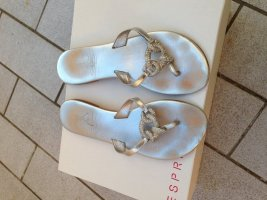 She High-Heeled Toe-Post Sandals silver-colored