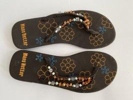 Flip flops Größe 38 braun Sommer Perlen flip flop sommerschuhe