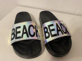 Beach Girl Strandsandalen zwart-stoffig roze
