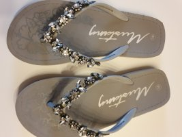 Mustang Flip-Flop Sandals silver-colored