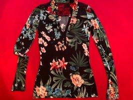 Florale Bluse mit Spitze