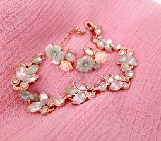 Florales Schmuckset Blumen Ohrringe mit Armkette Pastell Hallhuber