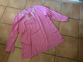 italienische Mode Tunic Blouse neon pink-light grey cotton