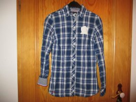 Geruite blouse wit-donkerblauw Katoen