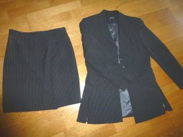 Pinstripe Suit black-grey polyester