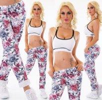 FlowerPrint Baggy/Pants/Hose - Pink/DarkBlue - OneSize - ITALY - Neu