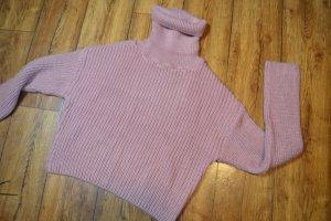 Folded Polo Neck Knitted Sweater 38 Hannalicious x NA-KD Rosa