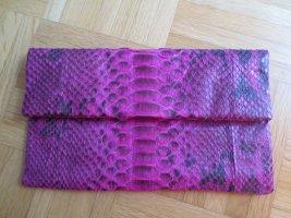 Foldover Clutch Snakeskin pink/schwarz, 27x16cm, NEU