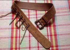 Fornarina breiter brauner Gürtel Leder Rauhleder Ketten Strass L Glitzer vintage