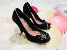 Fornarina Peep Toe Pumps black leather