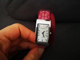 Fossil Horloge met lederen riempje framboosrood-roze