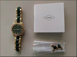 Fossil Horloge met metalen riempje bos Groen-zandig bruin Edelstaal
