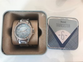 Fossil Watch With Metal Strap silver-colored-light blue
