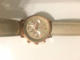 Fossil Horloge met lederen riempje beige