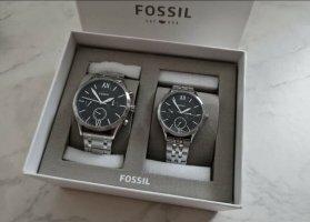 Fossil Zegarek z metalowym paskiem czarny-srebrny
