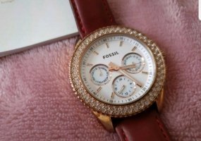 Fossil Uhr rosegold rotes Armband auswechselbar