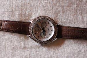 Fossil Uhr silber mit Lederarmband
