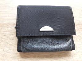 Francesco Biasia Geldbörse schwarz Leder Nylon ca. 12 x 11cm
